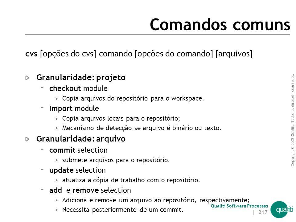 Comandos comuns cvs [opções do cvs] comando [opções do comando] [arquivos] Granularidade: projeto.